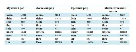 Таблица местоимений в немецком языке