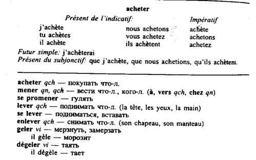 Специфика спряжения 1 группы глаголов во франузском языке с изменением корневой гласной.