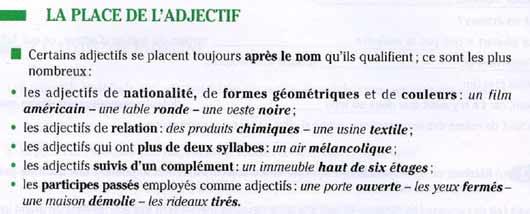 Прилагательные во французском языке