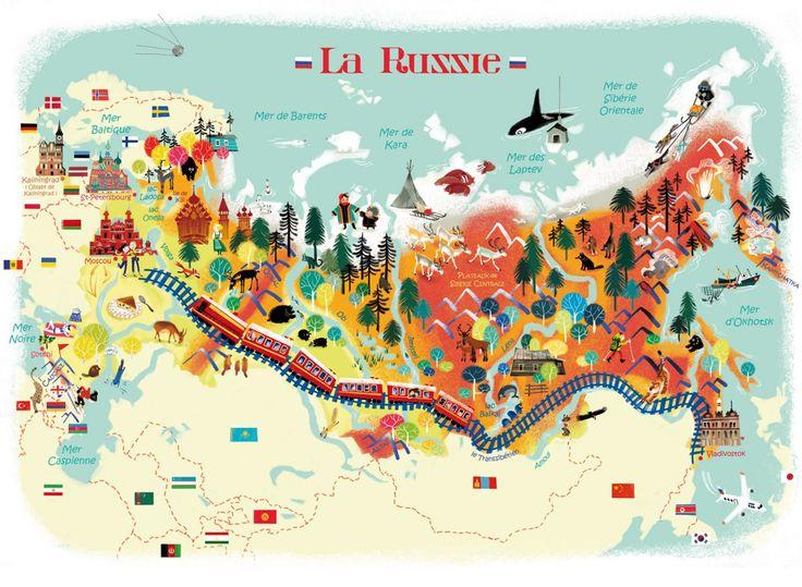 карта России на французском языке